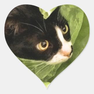Tuxedo Kitty Hiding in Tissue Paper Heart Sticker