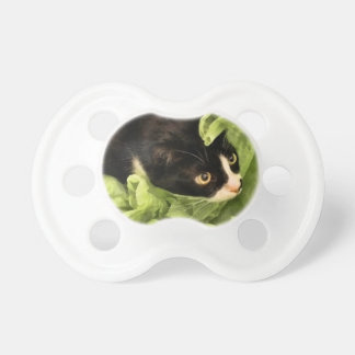 Tuxedo Kitty Hiding in Tissue Paper Baby Pacifiers