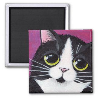 Tuxedo Kitty on Pink Magnet