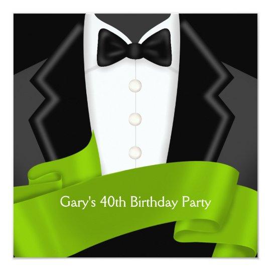 Tuxedo Mans Black Green 40th Birthday Party Card