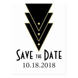 Tuxedo Modern Art Deco Save the Date Postcard