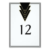 Tuxedo Modern Art Deco Table Number