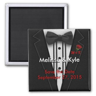 Tuxedo Monogram with Rose Fridge Magnets