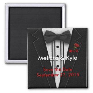 Tuxedo Monogram with Rose Magnet