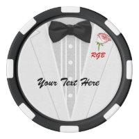 Tuxedo Monogram with Rose Poker Chips