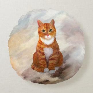 Tuxedo Orange Tabby Cat Round Pillow