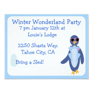 Tuxedo Penguin Winter Party Card