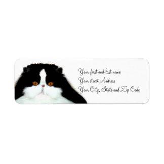 Tuxedo persian cat face label