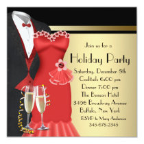 Tuxedo Red Dress Elegant Christmas Invitation