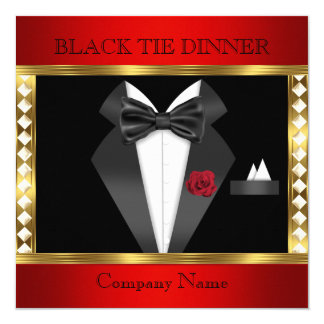 Tuxedo Red Gold Black Tie Formal Party Card