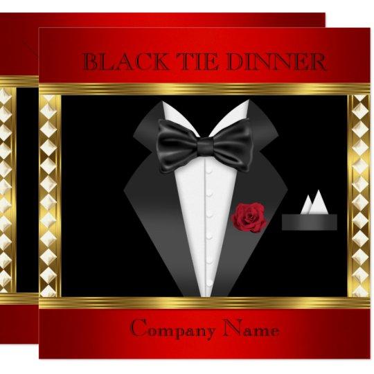 tuxedo red gold black tie formal party invitation zazzle com