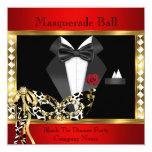 Tuxedo Red Gold Black Tie Masquerade Ball Card