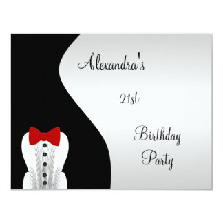 Tuxedo Red Tie 21st Birthday Party Black & Silver Card