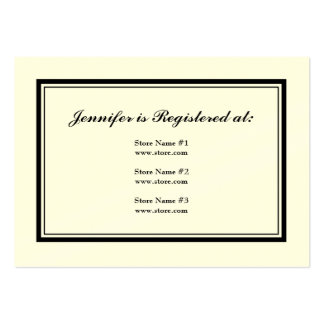 Tuxedo Registry Card in Black and White on Cream Large Business Cards (Pack Of 100)
