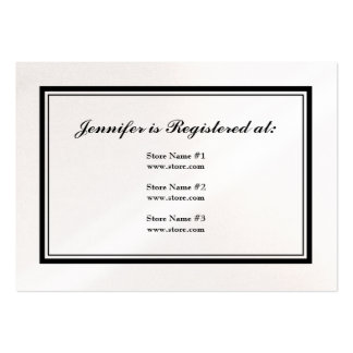 Tuxedo Registry Card in Black and White on Pearl Large Business Card