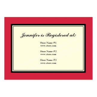 Tuxedo Registry Card in Classic Red on Cream Paper Large Business Cards (Pack Of 100)