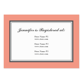 Tuxedo Registry Card in Coral and Gray Large Business Cards (Pack Of 100)