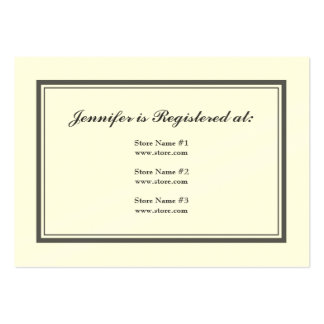 Tuxedo Registry Card in Gray on Cream Large Business Cards (Pack Of 100)