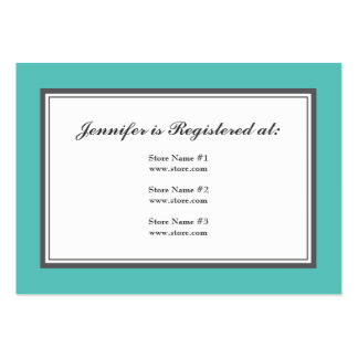 Tuxedo Registry Card in Turquoise and Gray Large Business Cards (Pack Of 100)
