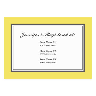 Tuxedo Registry Card in Yellow and Gray Large Business Cards (Pack Of 100)