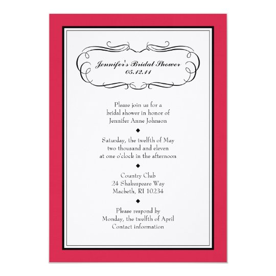Tuxedo Shower Invitation in Classic Red on Linen