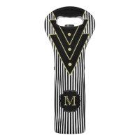 Tuxedo Stripes Deco Style with Monogram Wine Bag
