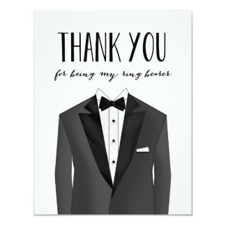Tuxedo Thank You Ring Bearer | Groomsman Card