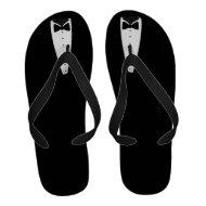 Tuxedo Tux Black White Formal Flip-Flops