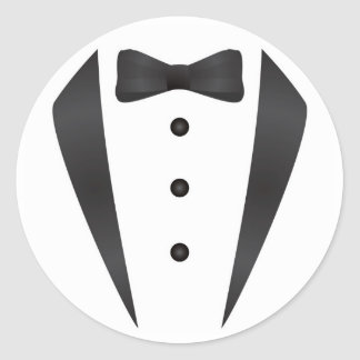 Tuxedo wedding gifts and props for groom classic round sticker