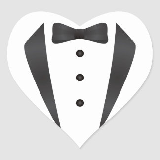 Tuxedo wedding gifts and props for groom heart sticker