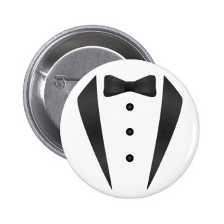 Tuxedo wedding gifts and props for groom pinback button