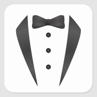 Tuxedo wedding gifts and props for groom square sticker