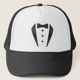 Tuxedo wedding gifts and props for groom trucker hat