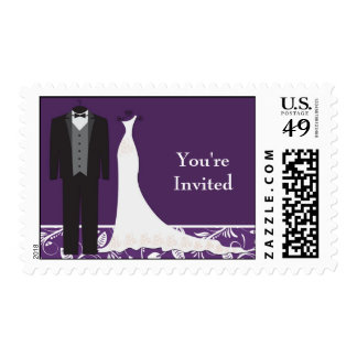 Tuxedo, wedding gown Black white Wedding Postage