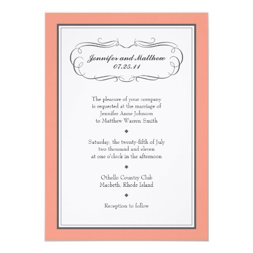 Tuxedo Wedding Invitation in Coral on Linen