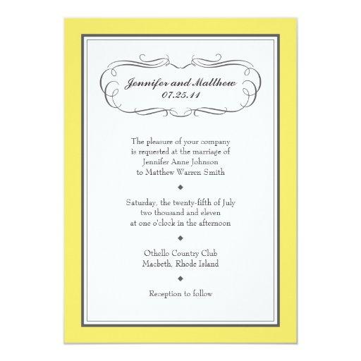 Tuxedo Wedding Invitation in Yellow and Gray