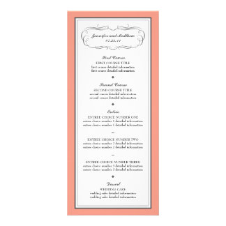 Tuxedo Wedding Menu in Coral and Gray Rack Card