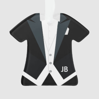 Tuxedo White Tie Tails Formal Wear Custom Monogram Ornament