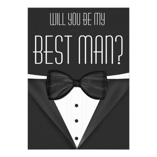 Tuxedo Will You Be My Best Man Wedding Invites