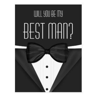 Tuxedo Will You Be My Best Man Wedding Postcard