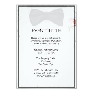 Formal wear invitations announcements zazzle tuxedo with bow tie monogram card stopboris Image collections