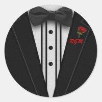 Tuxedo with Bow Tie Monogram Classic Round Sticker