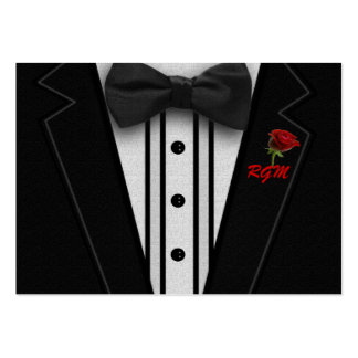 Tuxedo with Bow Tie Monogram Large Business Card