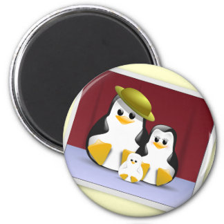 Tux's Family 2 Inch Round Magnet