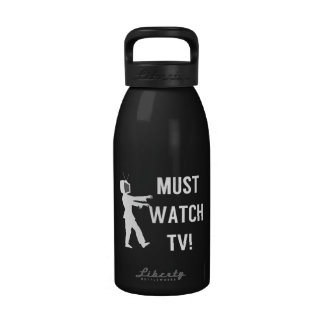 TV Addict Funny Zombie Water Bottle