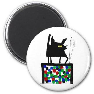 TV Cat 2 Inch Round Magnet