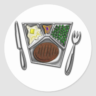 TV Dinner Knife and Spork Classic Round Sticker