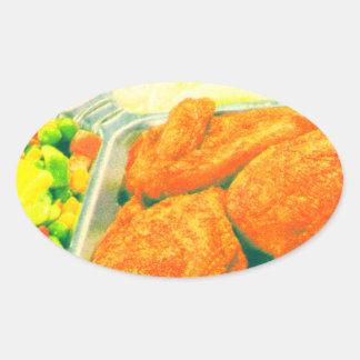 TV Dinner Oval Sticker