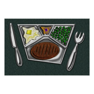 TV Dinner Tray Cooked Frozen Meal Knife and Spork Poster