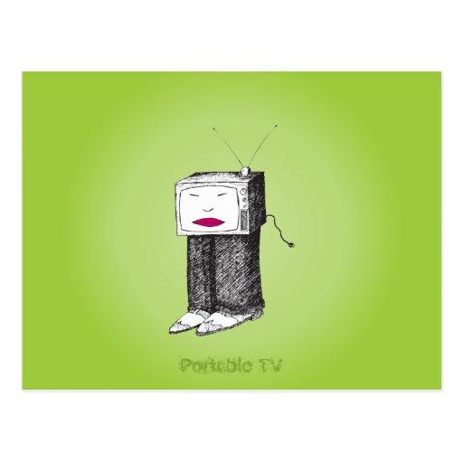 TV portátil desenchufada Tarjetas Postales